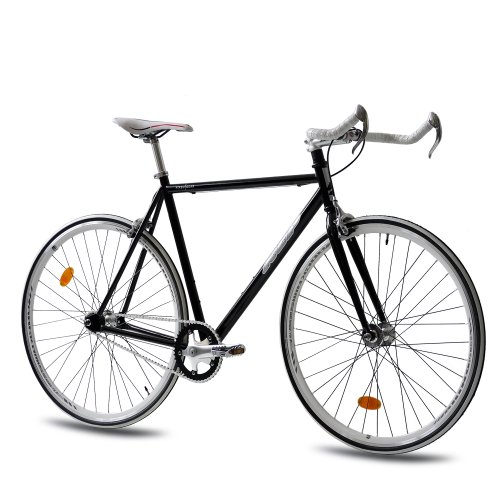 Fixed Gear Bike KCP FG-1 schwarz Bullhorn fixie bike 28
