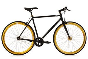 Fixed Gear Bike KS Cycling Pegado Fixie schwarz gold 28""