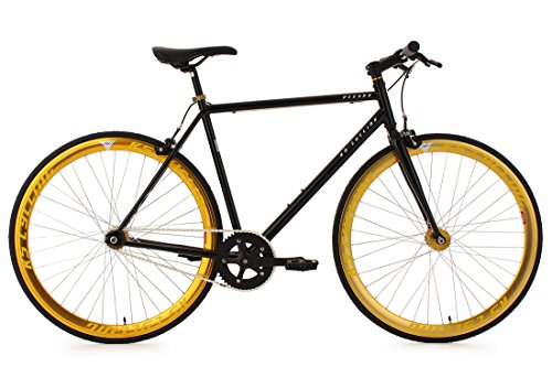 "Fixed Gear Bike KS Cycling Pegado Fixie schwarz gold 28"""
